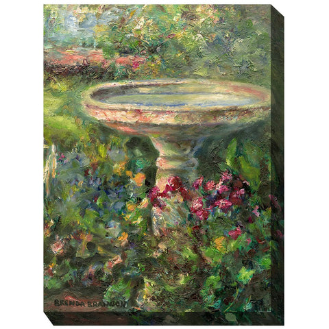 Birdbath Outdoor Canvas Art - Outdoor Art Pros