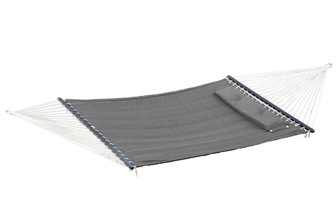 "Bliss Quilted Hammock with Pillow Poly with ""S"" Stitch (Grey) - Outdoor Art Pros"