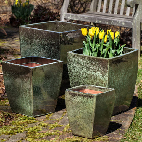 Blake Planter - Set of 4 in Green Metallic - Outdoor Art Pros