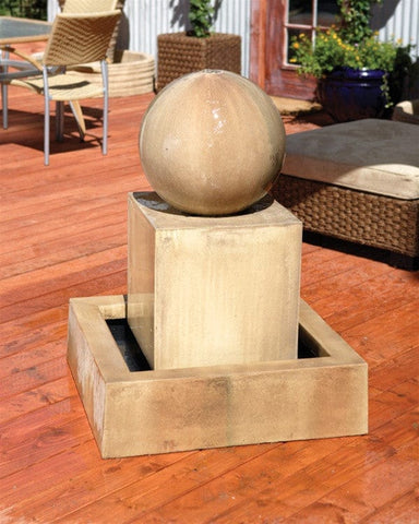 Block With Ball Garden Water Fountain - Fountains - Outdoor Art Pros