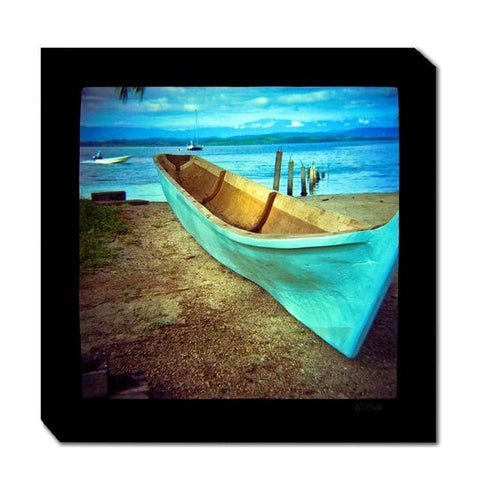 Blue Boat Canvas Art - Outdoor Art Pros