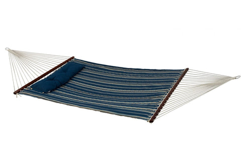 Bliss Hammock Quilted Cotton with Button Tuft Pillow (Blue Stripe) - Outdoor Art Pros