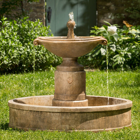 Borghese Water Fountain in Basin - Outdoor Art Pros