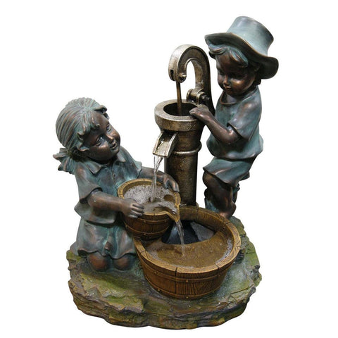Boy And Girl Fetching Water Fountain - Outdoor Art Pros