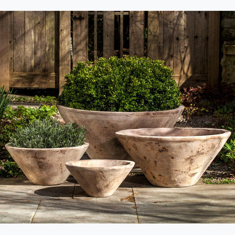 Brasilia Planter Set of 4 in Antico Terra Cotta - Outdoor Art Pros
