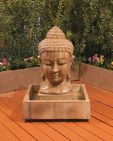 Buddha Head Garden Water Fountain - Fountains - Outdoor Art Pros