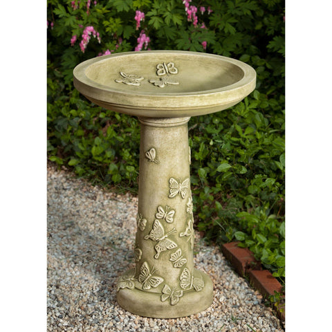 Butterflies Are Free Cast Stone Birdbath - Outdoor Art Pros
