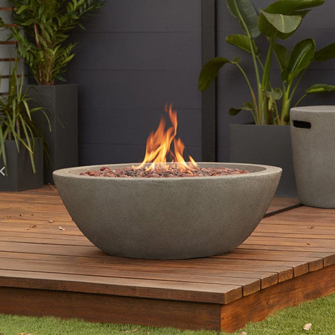 Riverside Propane Fire Bowl with Natural Gas Conversion Kit in Glacier Gray- Outdoor Art Pros