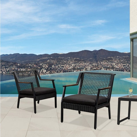 Calvin Chair Set of 2 in Black - Outdoor Art Pros