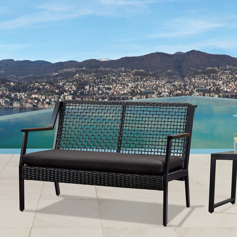 Calvin Love Seat in Black- Outdoor Art Pros