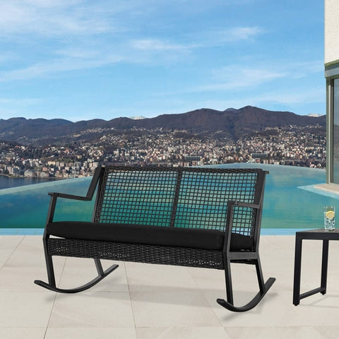Calvin Two Seat Rocker in Black - Outdoor Art Pros