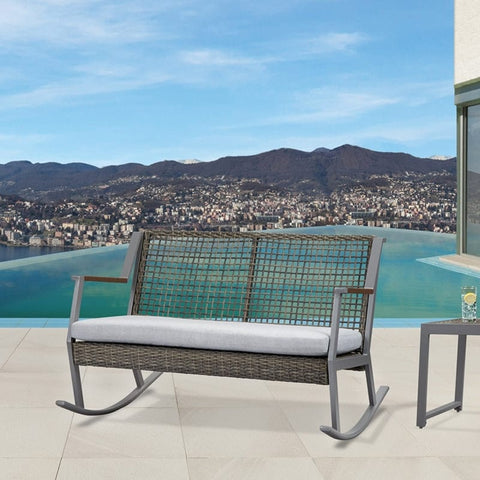 Calvin Two Seat Rocker in Gray - Outdoor Art Pros