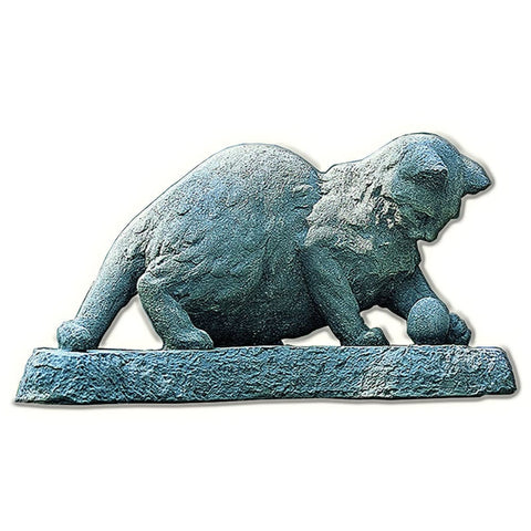 Cat Chasing Ball Cast Stone Garden Statue - Outdoor Art Pros