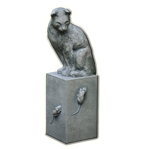 Cat and Mouse Game Cast Stone Garden Statue - Outdoor Art Pros