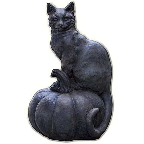 Cat on Pumpkin Cast Stone Garden Statue - Outdoor Art Pros