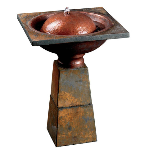 Cauldron Outdoor Birdbath Fountain- Outdoor Art Pros