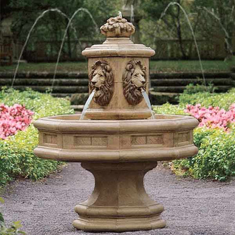 Classic Lion Cast Stone Outdoor Fountain
