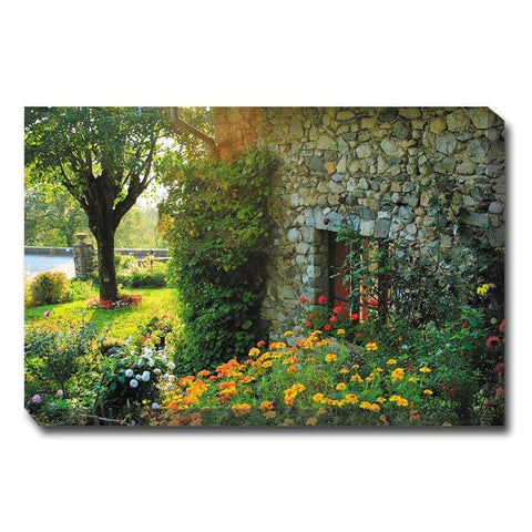 Cobblestone Garden Canvas Wall Art - Outdoor Art Pros