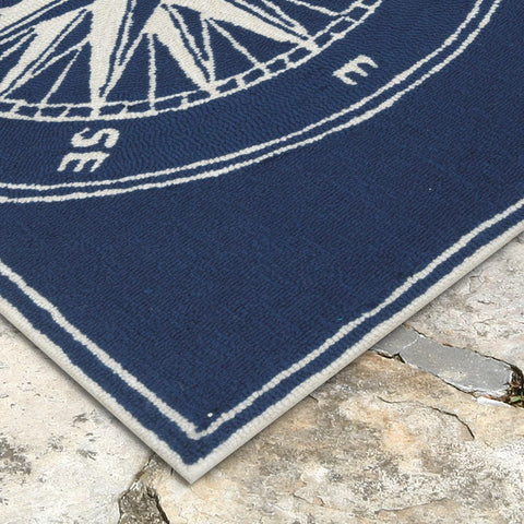 Liora Manne Frontporch Compass Navy Area Rug - Outdoor Art Pros