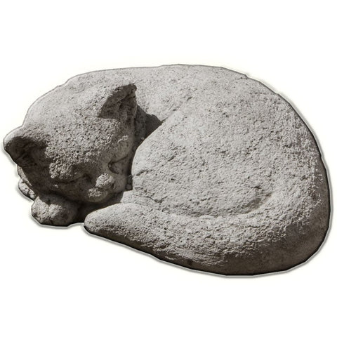 Curled Cat Small Cast Stone Garden Statue - Outdoor Art Pros