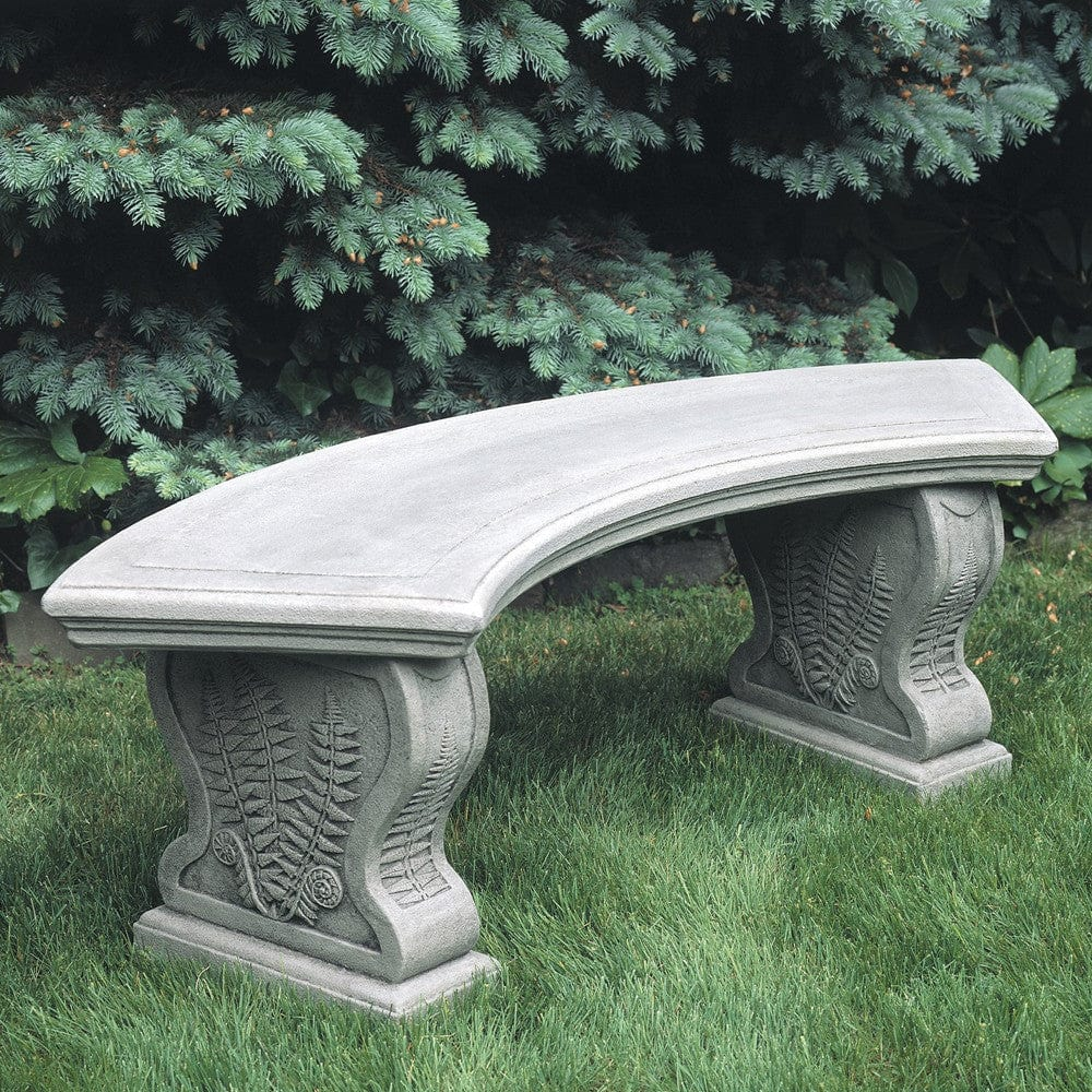 Stone And Wood Bench: Curved Woodland Ferns Stone Bench