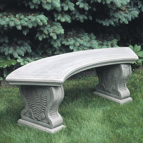 Curved Woodland Ferns Garden Bench - Outdoor Art Pros