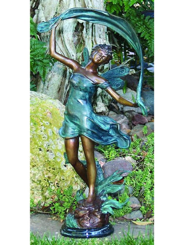 Dancing Fairy Brass Garden Statue - Brass Baron - Outdoor Art Pros
