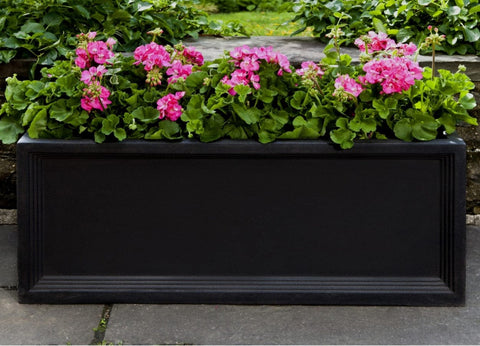 Denbigh Onyx Black Window Box Planter - OUtdoor Art Pros