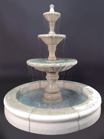 Dijon Tiered Outdoor Fountain with Fiore Pond, Gray - Outdoor Art Pros