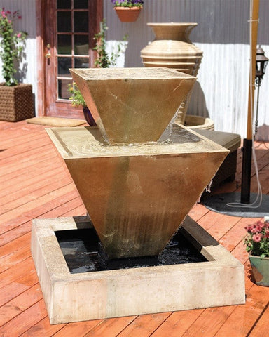 Double Oblique Garden Water Fountain - Fountains - Outdoor Art Pros