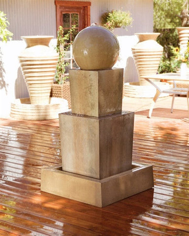 Double Obtuse With Ball Modern Water Fountain   Fountains   Outdoor Art Pros