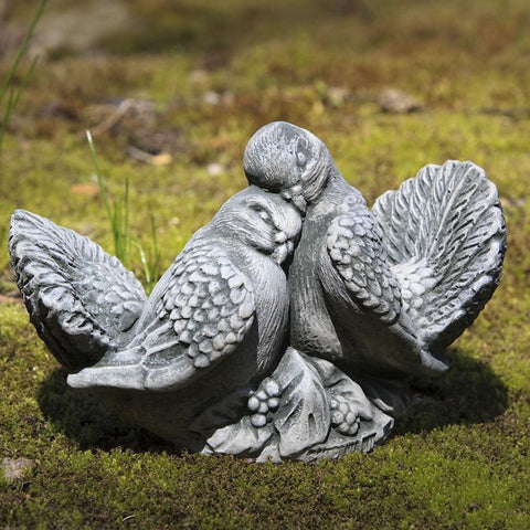 Dove Small Pair Cast Stone Garden Statue - Outdoor Art Pros