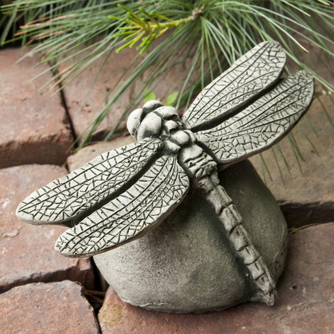 Dragonfly Cast Stone Garden Statue - Outdoor Art Pros