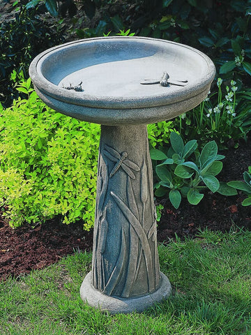 Dragonfly Cast Stone Birdbath - Outdoor Art Pros