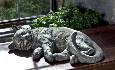 Dreaming Kitty Cast Stone Garden Statue - Outdoor Art Pros