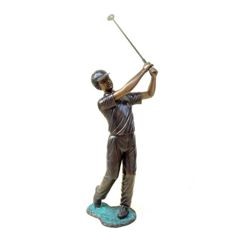 Brass Baron Boy Golfer Statue - Brass Baron -Outdoor Art Pros