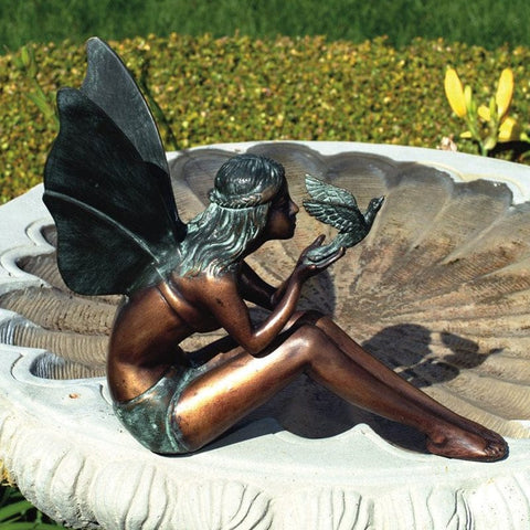 Bird Fairy Garden Statue - Brass Baron - Outdoor Art Pros