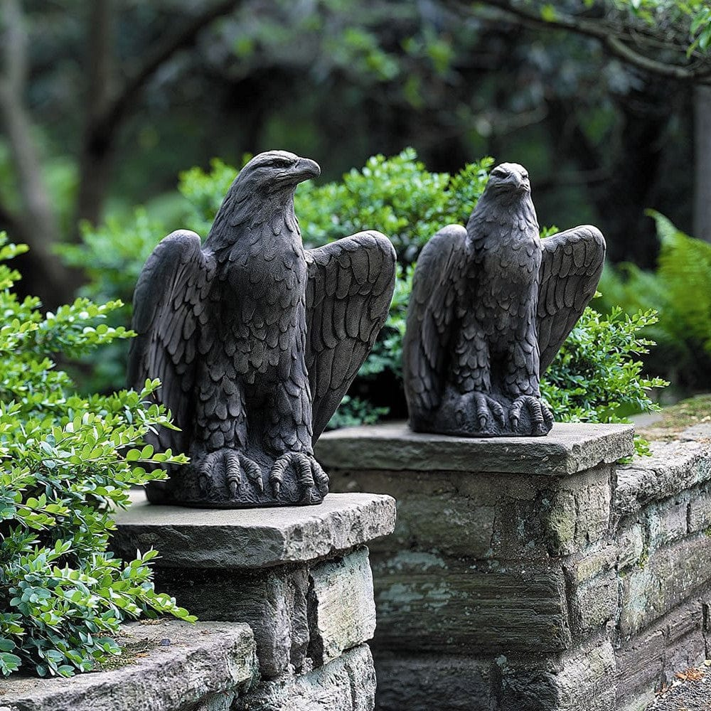 ... Eagle Looking Left And Right Cast Stone Garden Statue   Outdoor Art  Pros ...