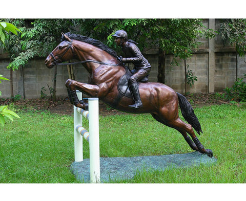 Equestrian Competition Bronze Outdoor Accent - Brass Baron - Outdoor Art Pros