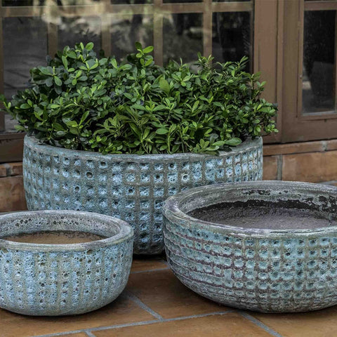 Escada Bowl Shaped Planter Set of 3 in Verdigris Finish - Outdoor Art Pros