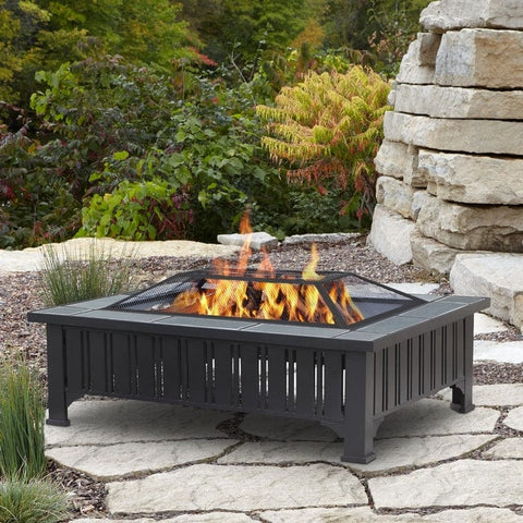 Evans Rectangle Wood Burning Fire Pit - Outdoor Art Pros