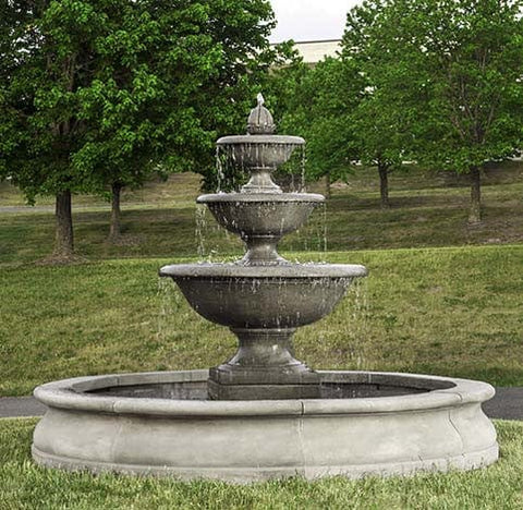 Monteros Tiered Outdoor Water Fountain in Basin