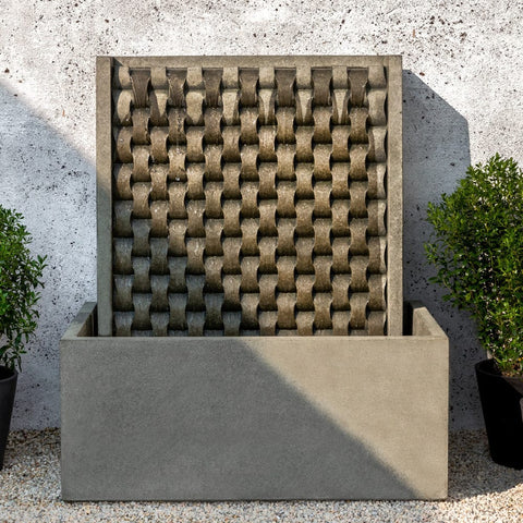 Large M Weave Wall Outdoor Fountain - Outdoor Art Pros