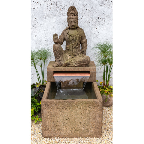 Antique Quan Yin Buddha Outdoor Fountain - Outdoor Art Pros
