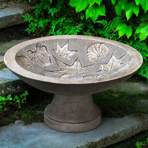 Falling Leaves Cast Stone Birdbath - Outdoor Art Pros