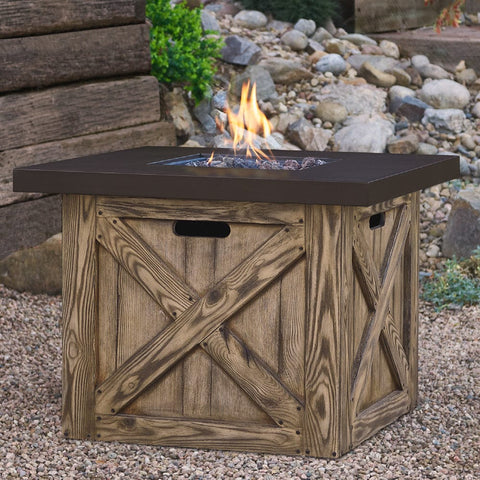 Farmhouse Gas Fire Table with NG Conversion Kit - Outdoor Art Pros
