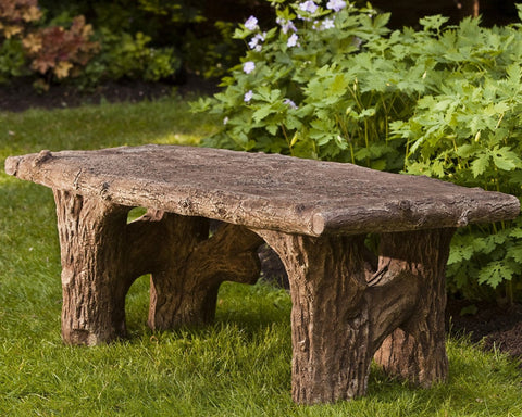 Faux Bois Cast Stone Garden Bench - Outdoor Art Pros