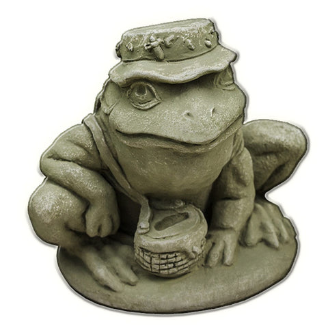 Fisherman Frog Cast Stone Garden Statue - Outdoor Art Pros