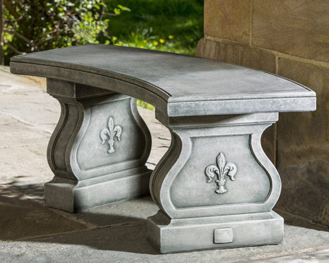 Fleur De Lys Curved Garden Bench - Outdoor Art Pros