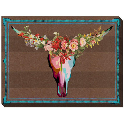 Floral Longhorn Outdoor Canvas Art - Outdoor Art Pros